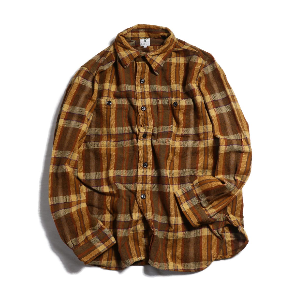SOUTH2 WEST8 / Work Shirt Cotton Twill/Plaid -BROWN