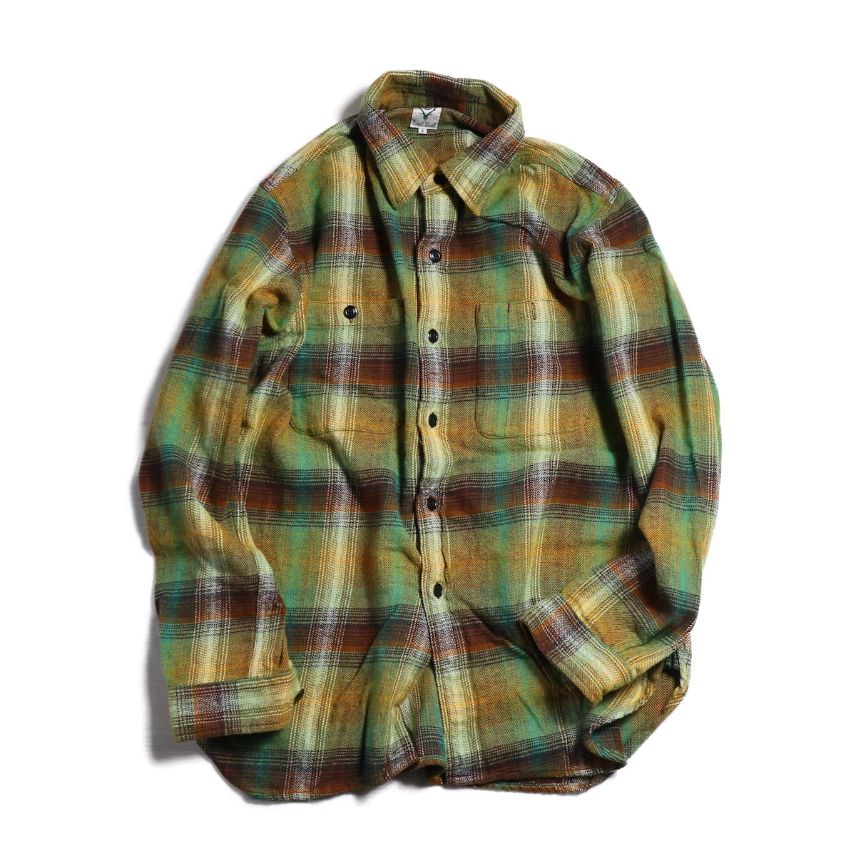 SOUTH2 WEST8 / Work Shirt Cotton Twill/Plaid -OLIVE