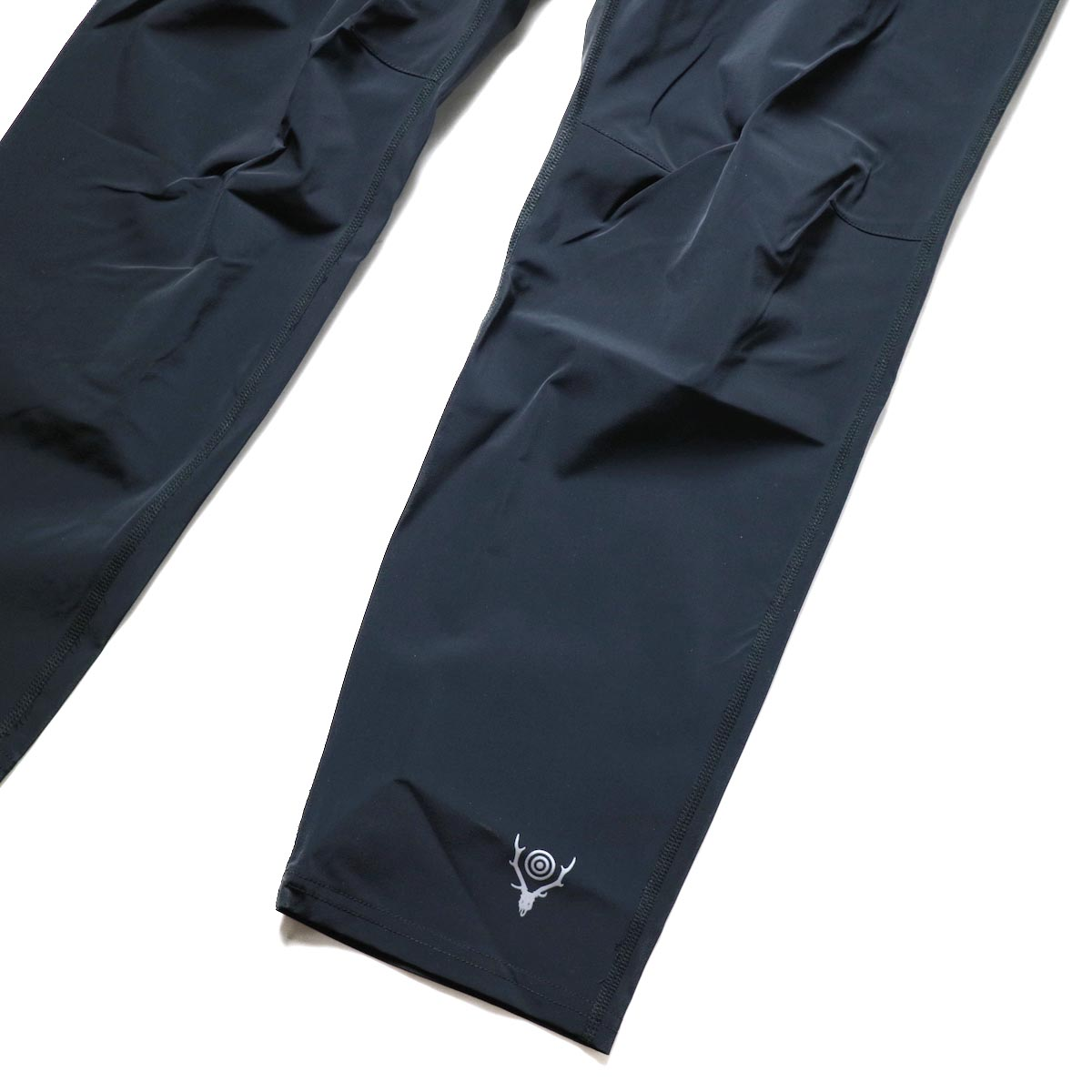 South2 West8 / 2P Cycle Pant -N/Pu Taffeta (Black)裾、ロゴ