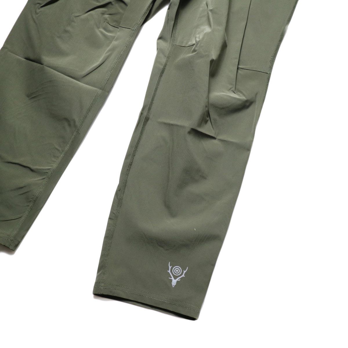 South2 West8 / 2P Cycle Pant -N/Pu Taffeta (Olive)裾、ロゴ