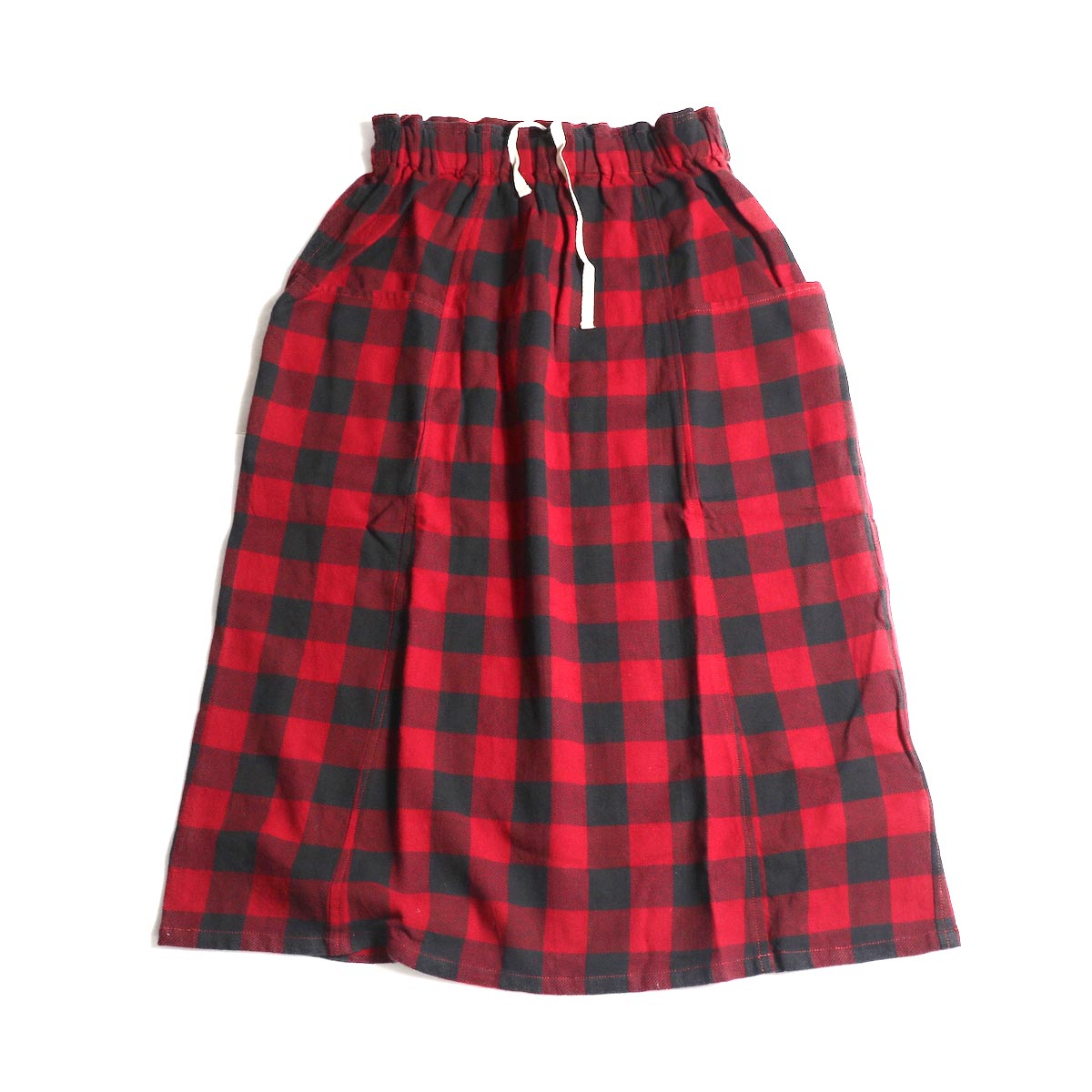 SOUTH2 WEST8 / Army String Skirt -Plaid Twill (Red/Black)