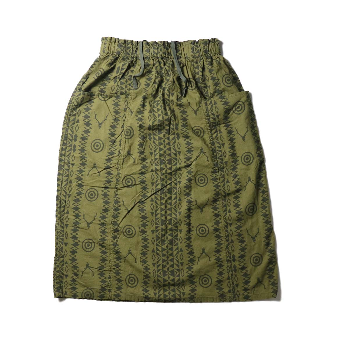 SOUTH2 WEST8 / Army String Skirt -Flannel Pt. (Skull & Target)