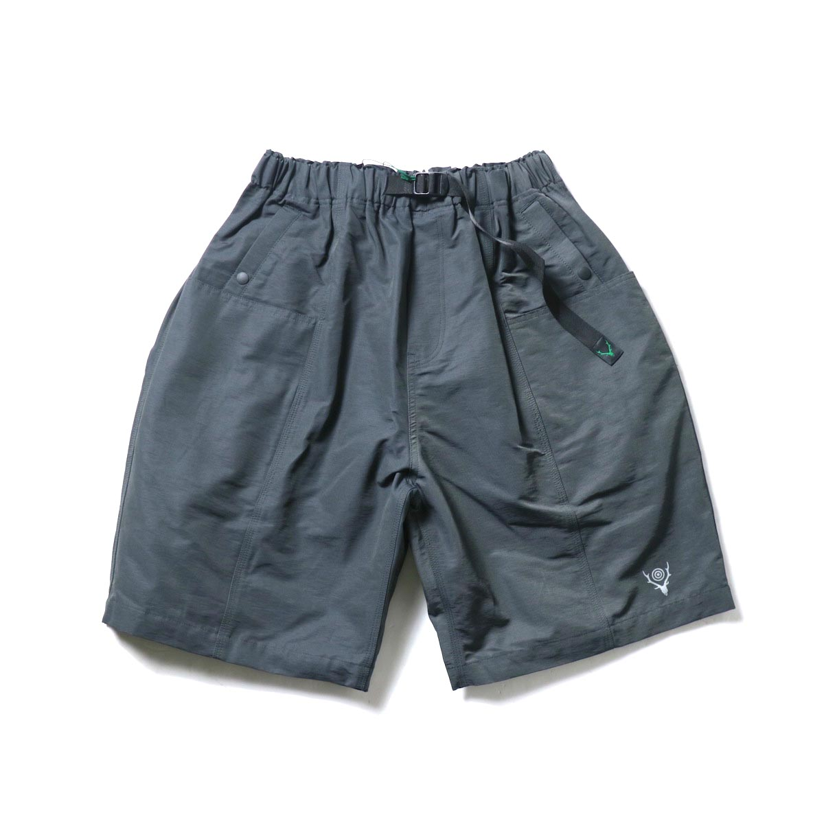 South2 West8 / BELTED C.S. SHORT - C/N GROSGRAIN (Charcoal)