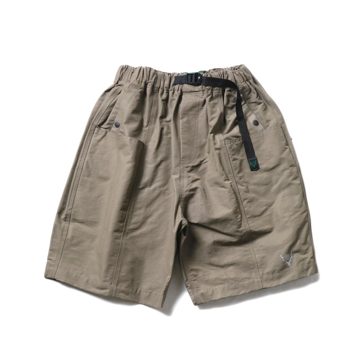 South2 West8 / BELTED C.S. SHORT - C/N GROSGRAIN (Taupe)