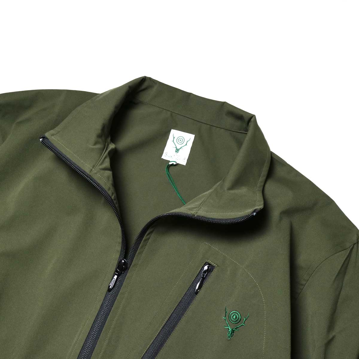 South2 West8 / Boulder Shirt -Poly Stretch Twill (Green)襟