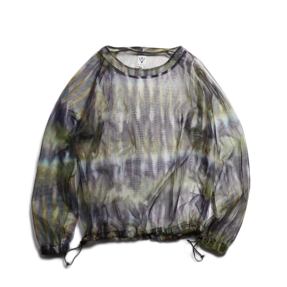 SOUTH2 WEST8 / Bush Shirt -Mesh Print (Tie Dye) 正面