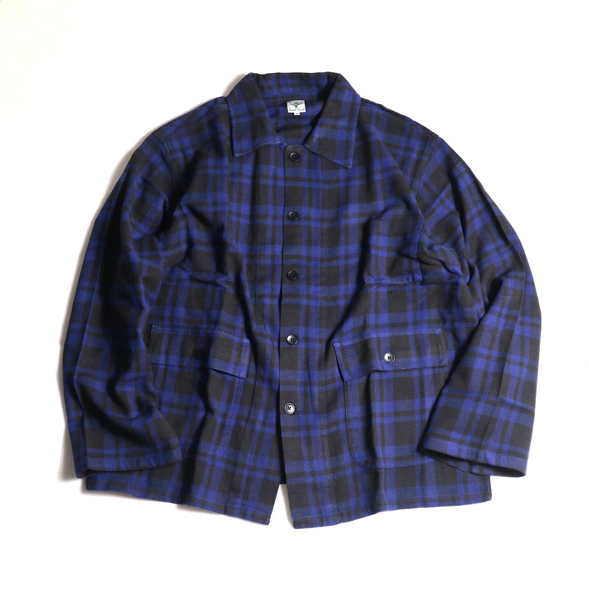 South2 West8 / Hunting Shirt -Plaid Twill (Blue/Black)