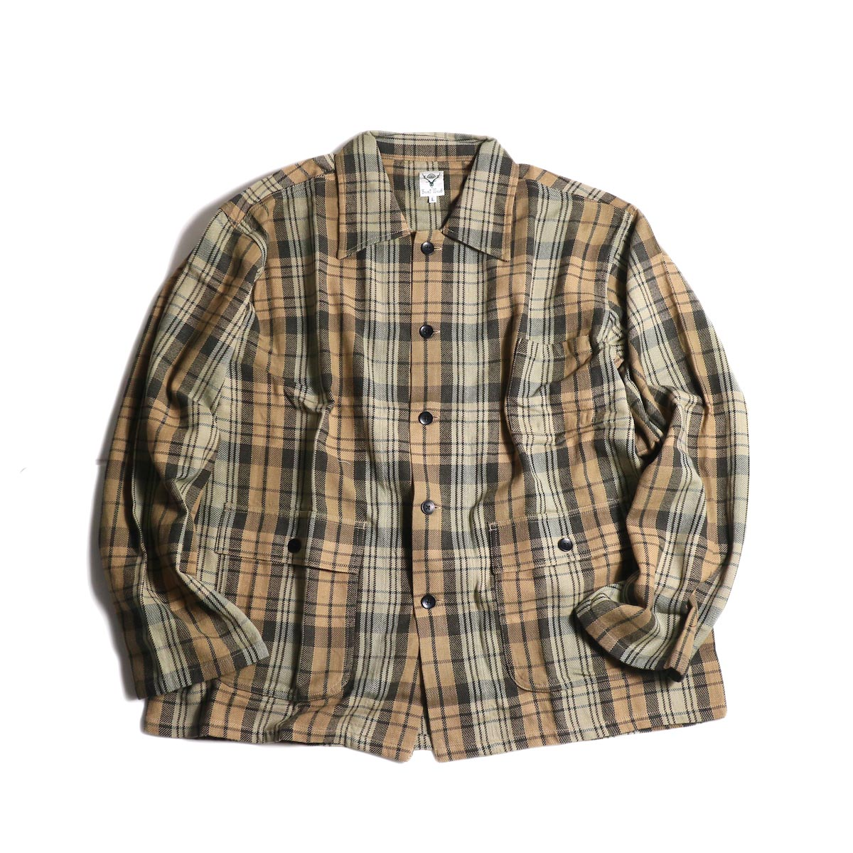 South2 West8 / Hunting Shirt -Plaid Twill (Khaki/Black)
