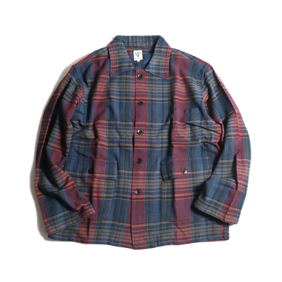 South2 West8 / Hunting Shirt -Plaid Twill (Navy/Red)