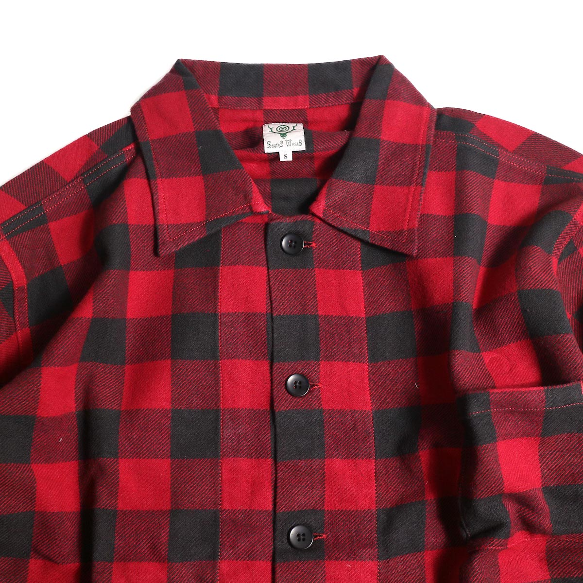South2 West8 / Hunting Shirt -Plaid Twill (Red/Black)襟