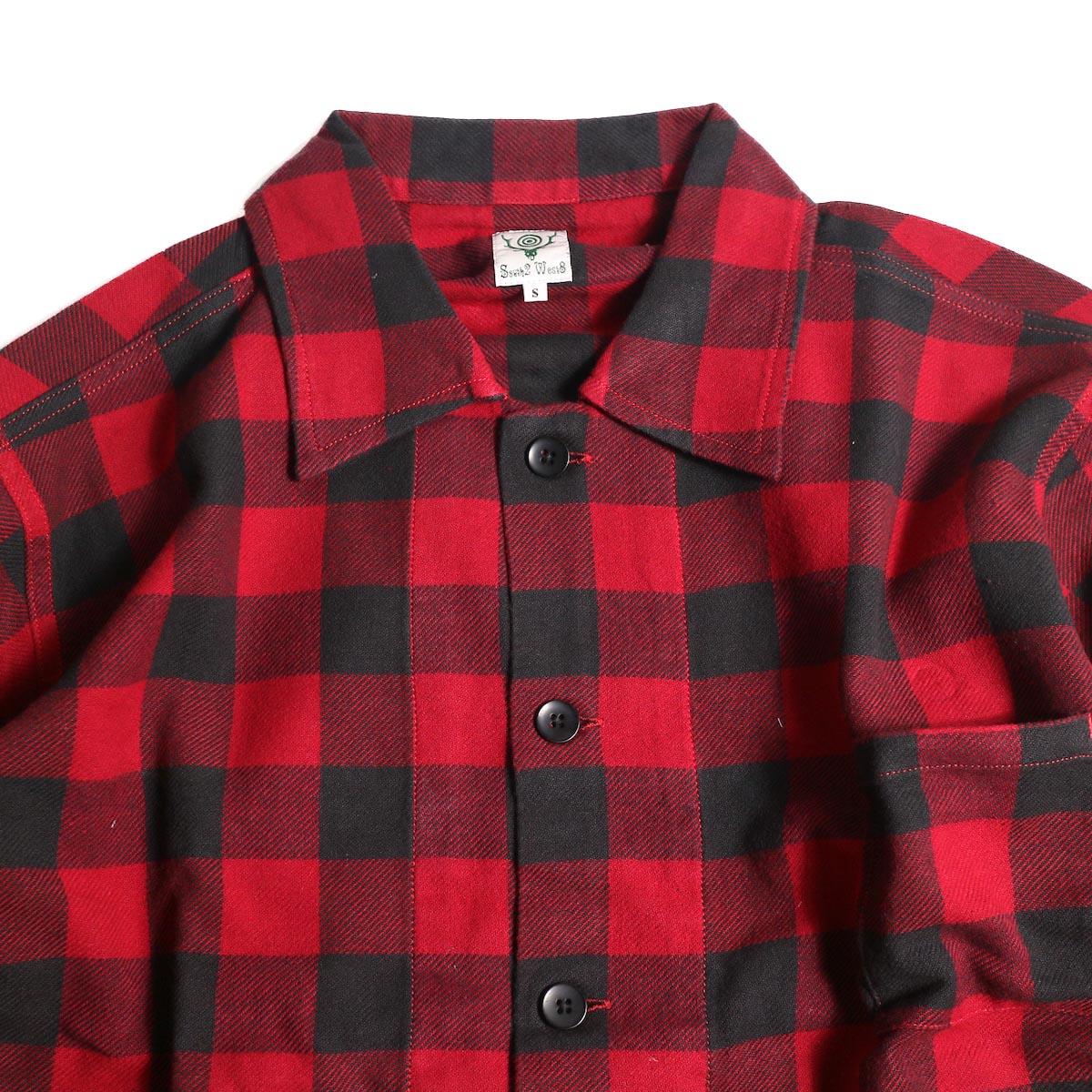 South2 West8 / Hunting Shirt -Plaid Twill (Red/Black)襟