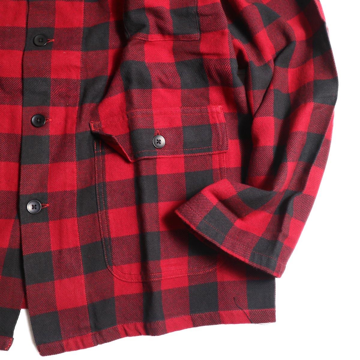 South2 West8 / Hunting Shirt -Plaid Twill (Red/Black)袖、裾