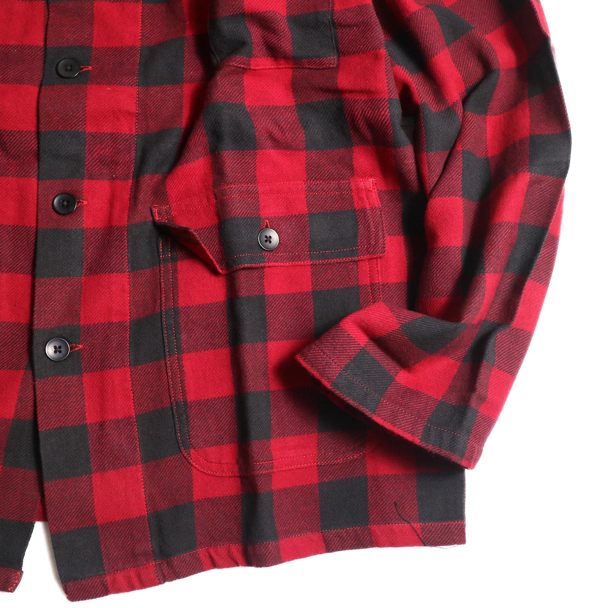 South2 West8 / Hunting Shirt -Plaid Twill (Red/Black)袖、裾