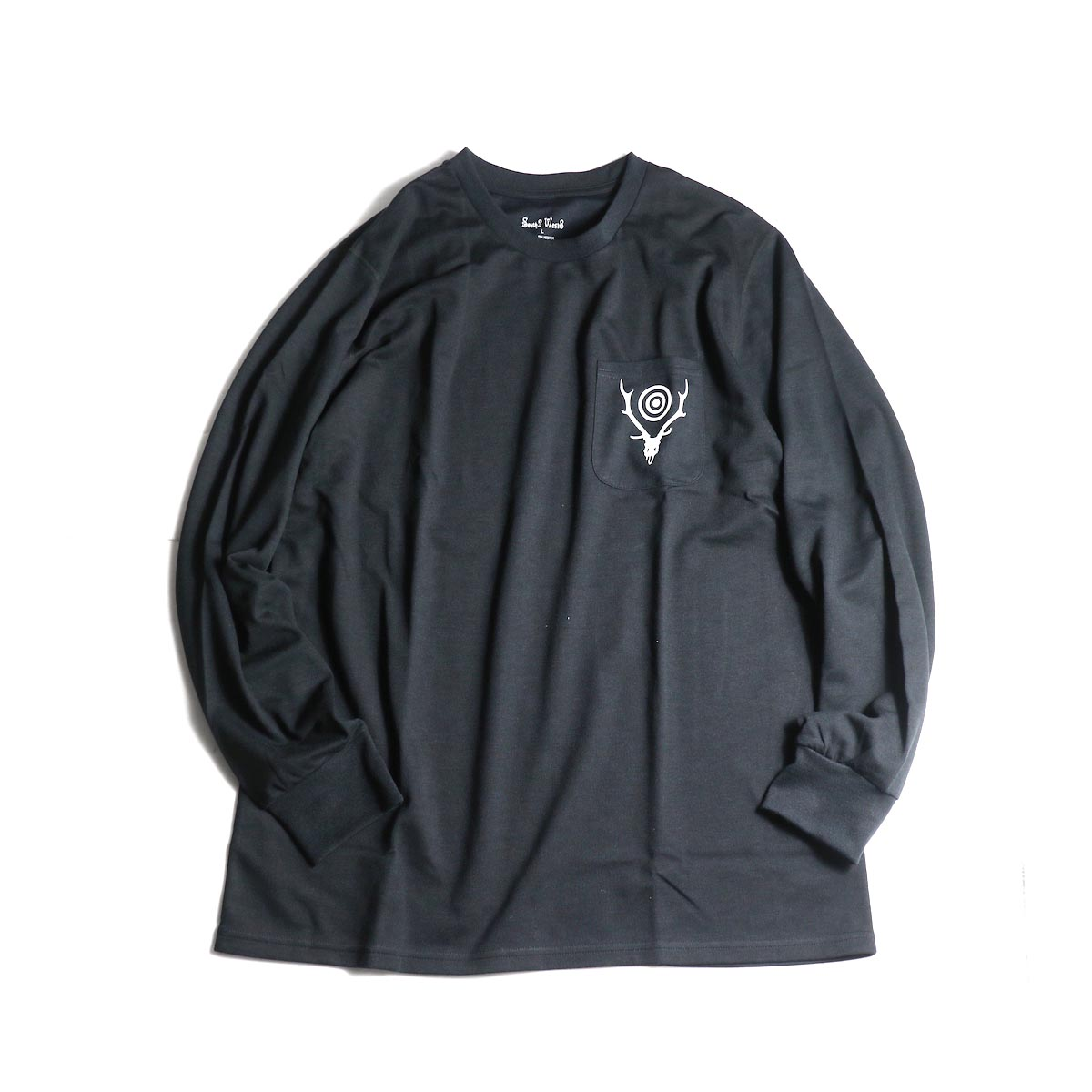 South2 West8 / L/S Round Pocket Tee -Circle Horn (Black)