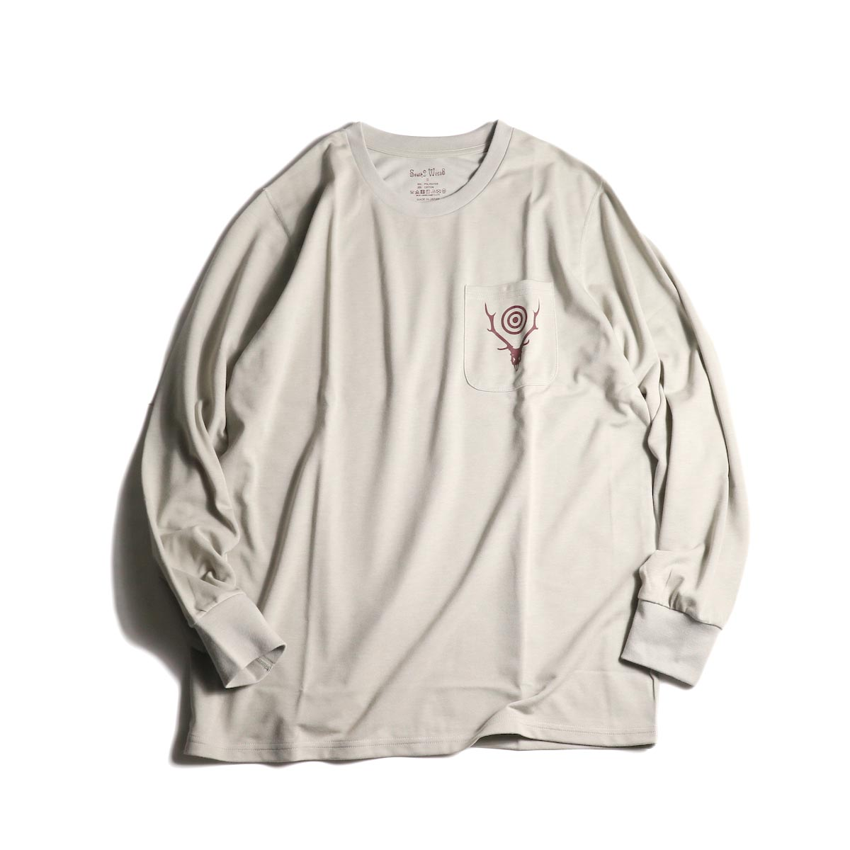 South2 West8 / L/S Round Pocket Tee -Circle Horn (Oyster)
