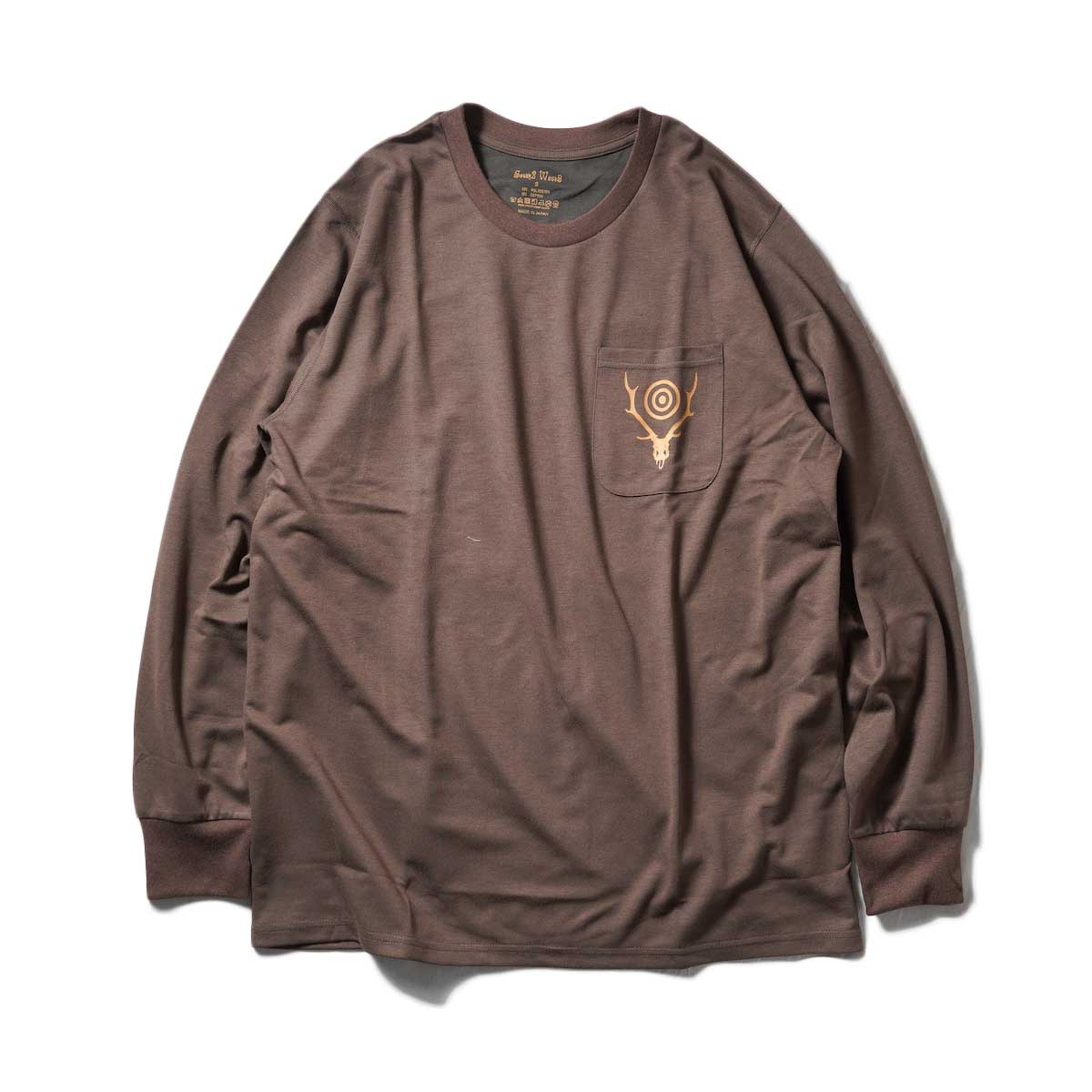 South2 West8 / L/S Round Pocket Tee -Circle Horn (Brown)