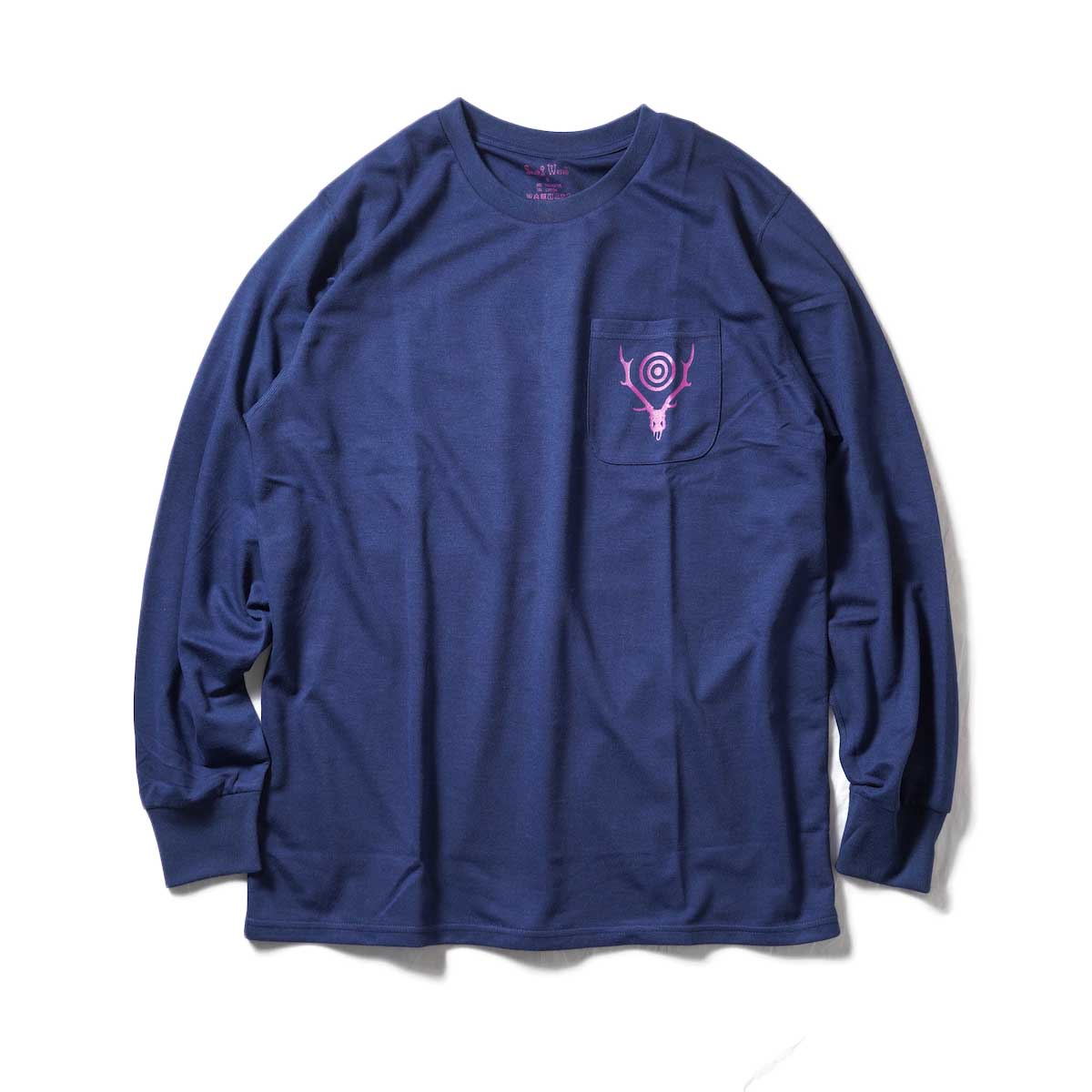 South2 West8 / L/S Round Pocket Tee -Circle Horn (Navy)