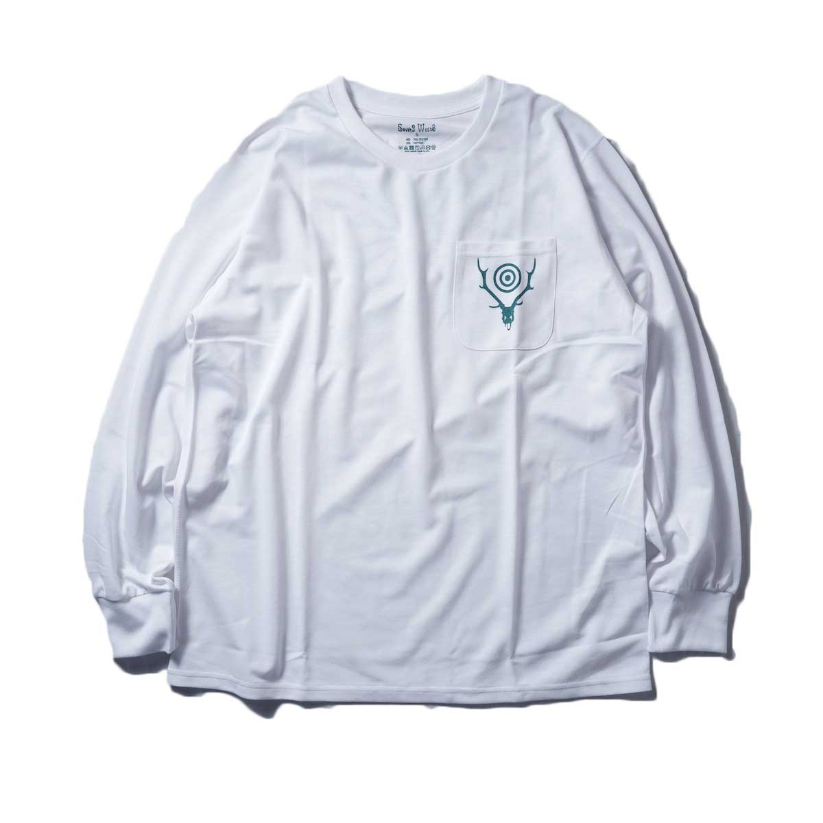 South2 West8 / L/S Round Pocket Tee -Circle Horn (White)