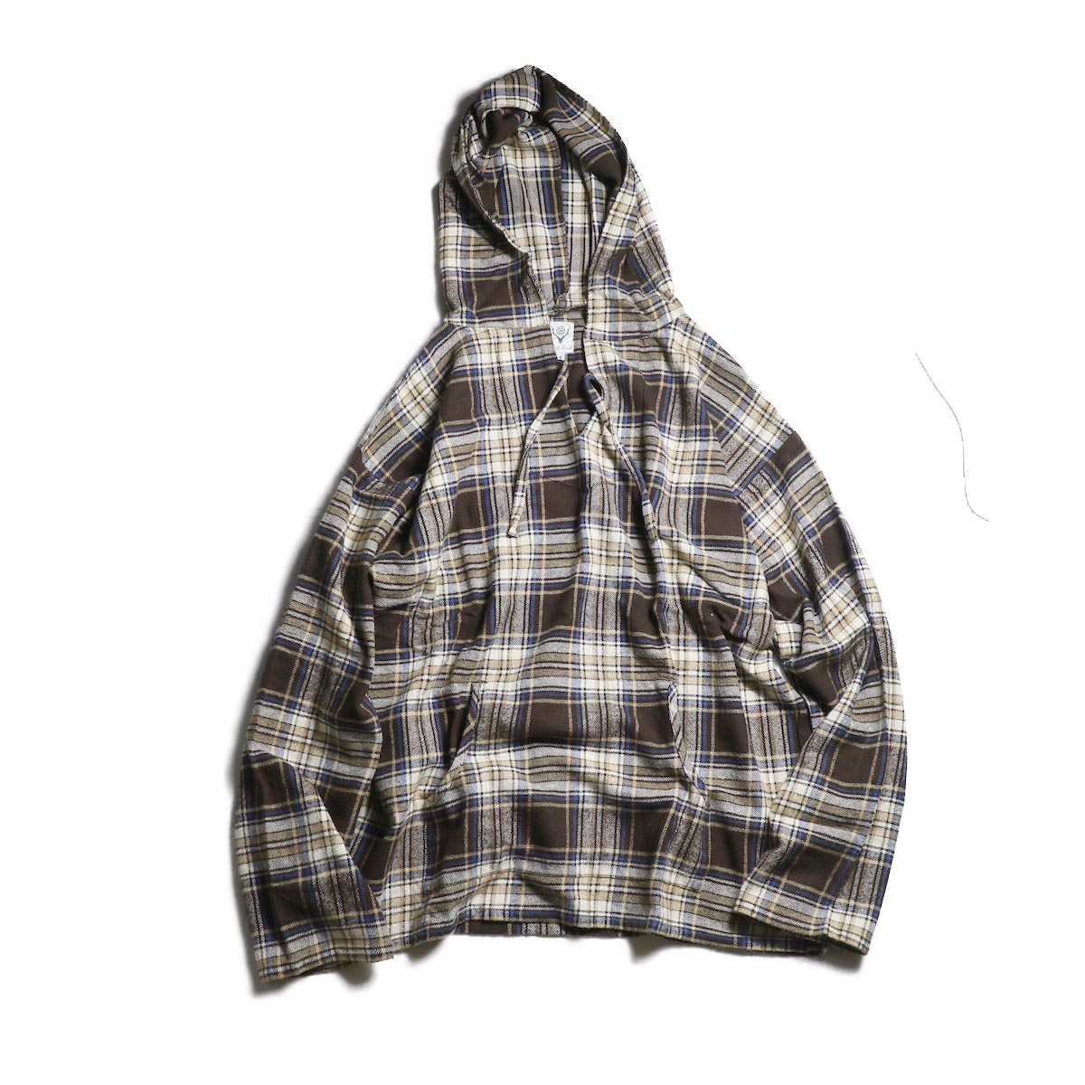 SOUTH2 WEST8 / Mexican Parka -Cotton Twill / Plaid (Brown)