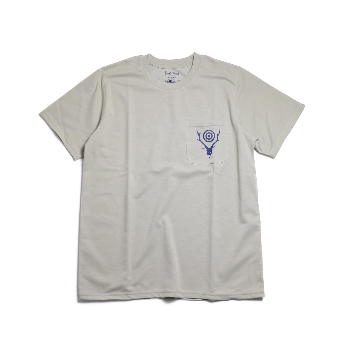 SOUTH2 WEST8 / Round Pocket Tee (Circle Horn) -Gray