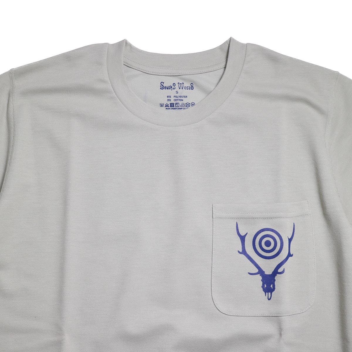 SOUTH2 WEST8 / Round Pocket Tee (Circle Horn) -Gray  首周り