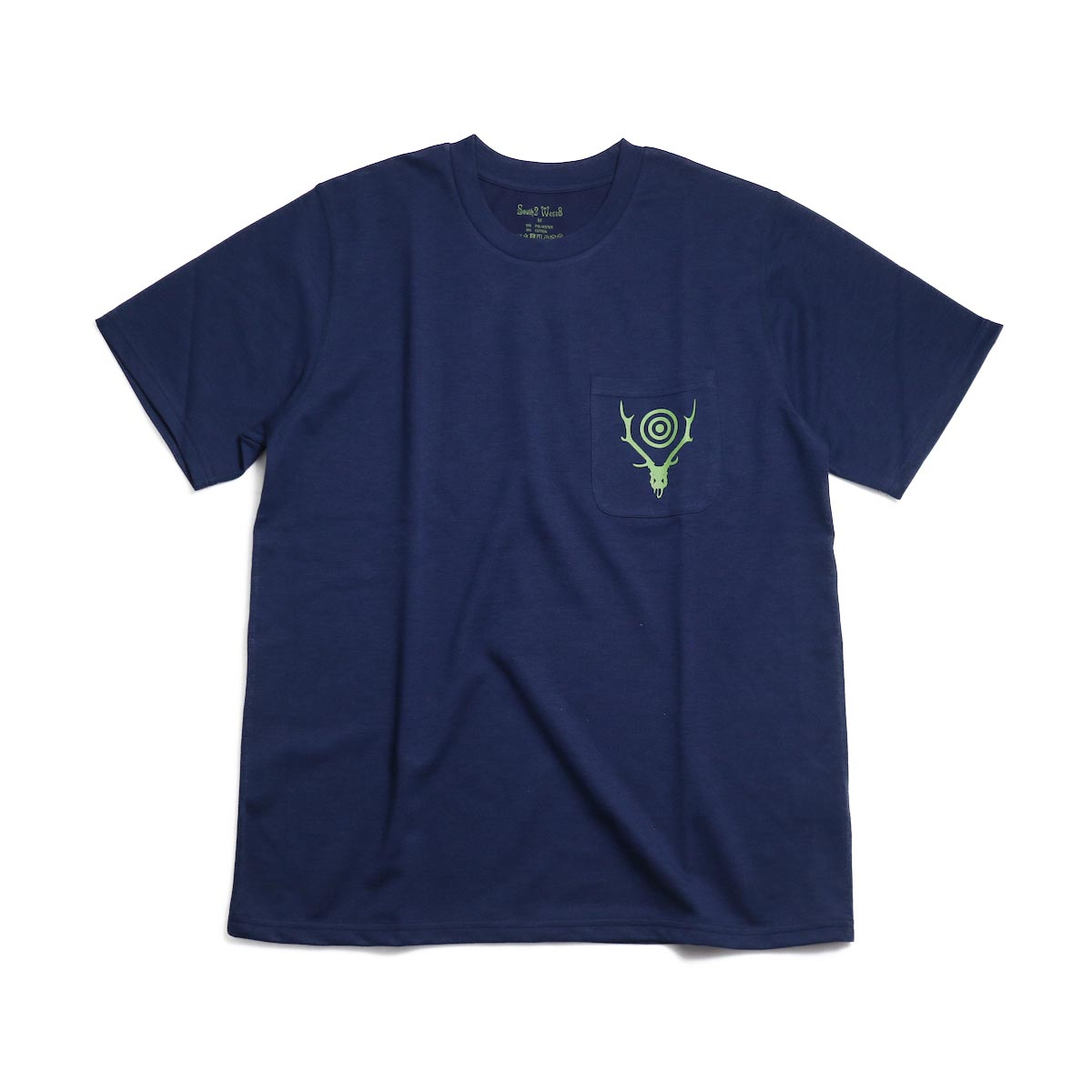 SOUTH2 WEST8 / Round Pocket Tee (Circle Horn) -Navy