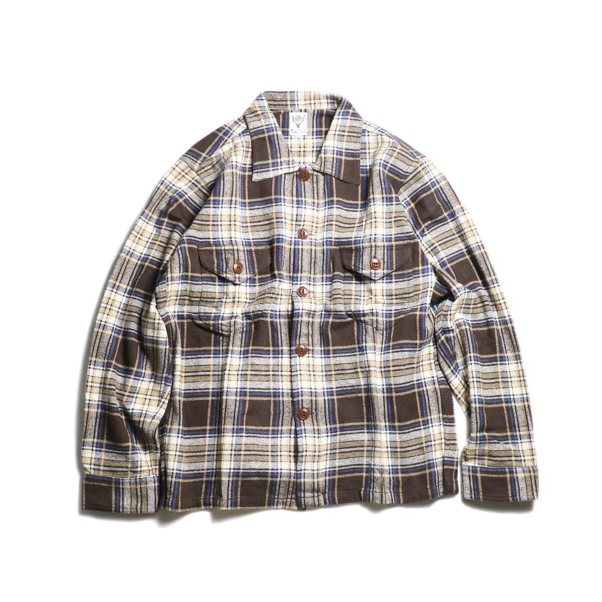 SOUTH2 WEST8 / Smokey Shirt - Cotton Twill / Plaid (brown)