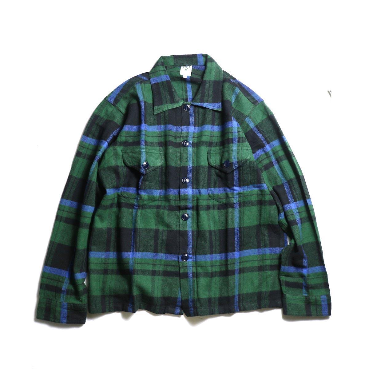 SOUTH2 WEST8 / Smokey Shirt - Cotton Twill / Plaid (Green)