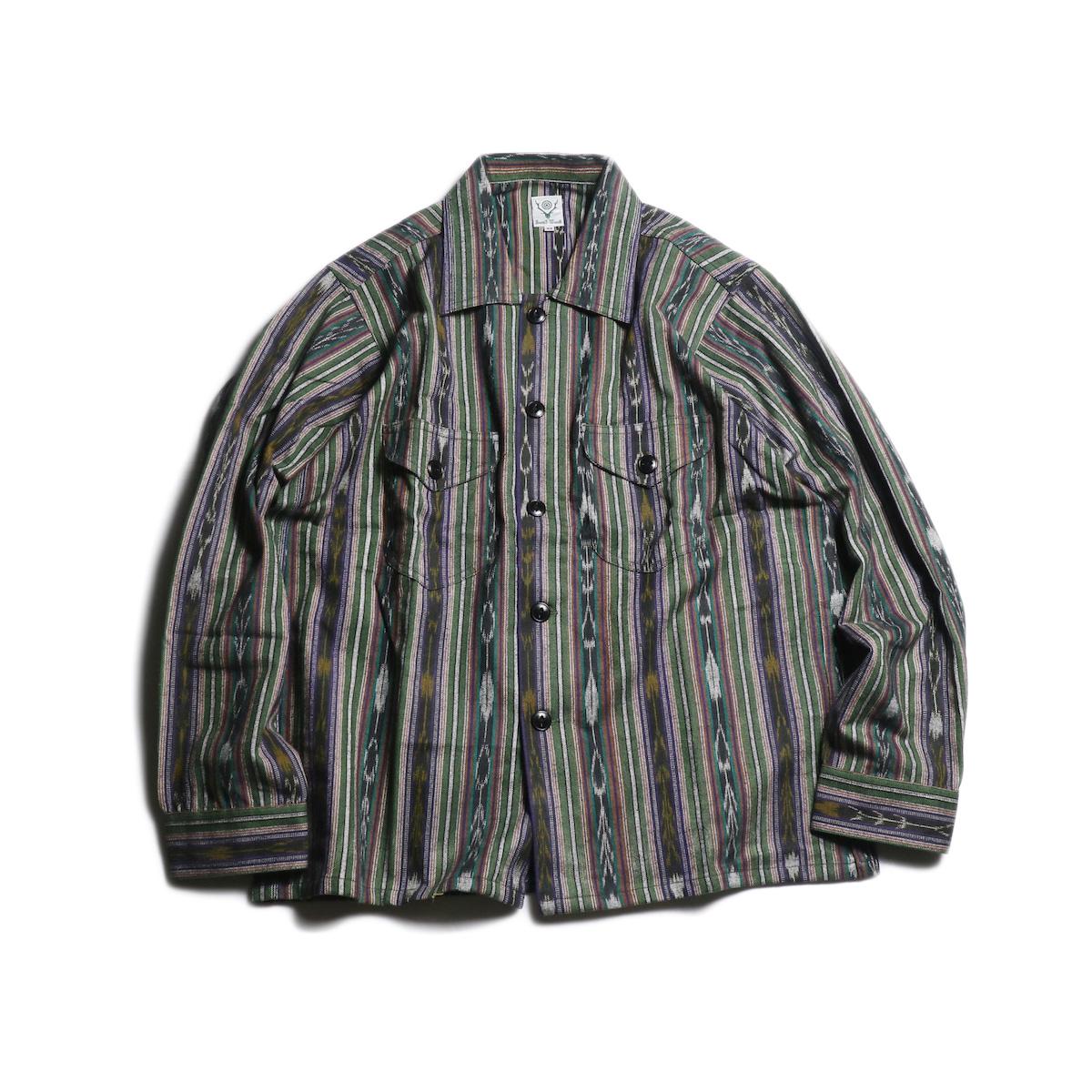 SOUTH2 WEST8 / Smokey Shirt - Cotton Cloth/Ikat Pattern (Green)