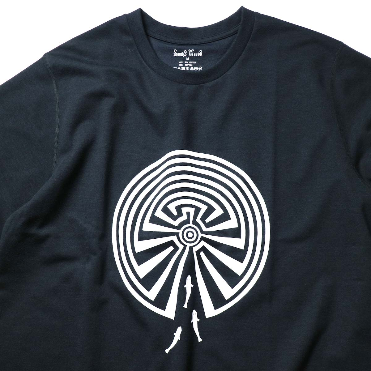 South2 West8 / S/S Crew Neck Tee -Maze (Black)プリント