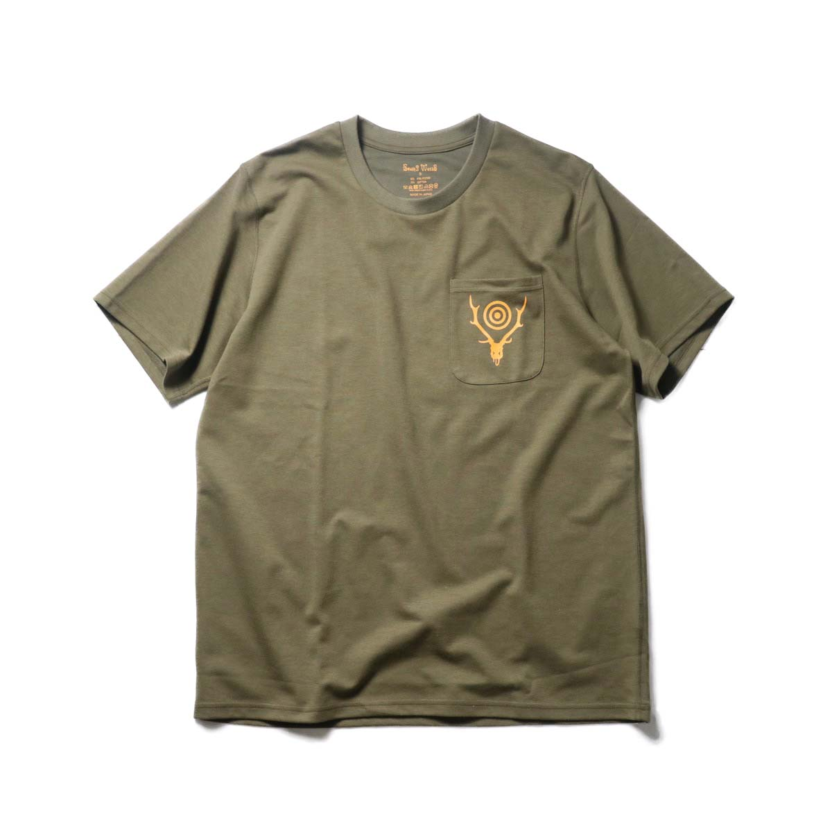 South2 West8 / S/S ROUND POCKET TEE - CIRCLE HORN (Olive)