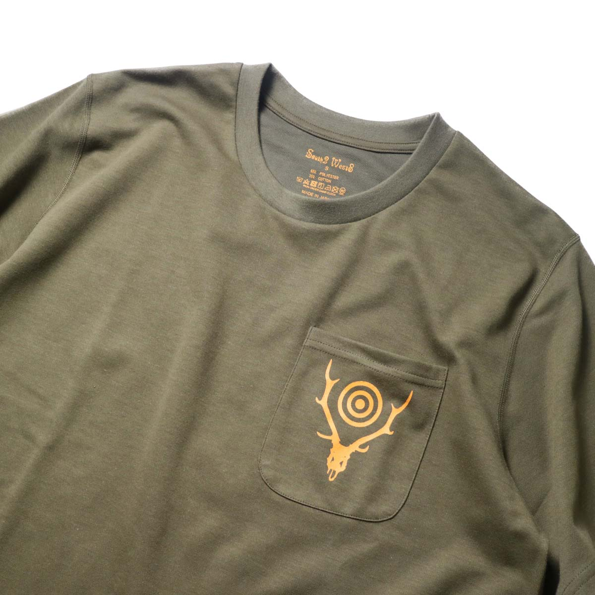 South2 West8 / S/S ROUND POCKET TEE - CIRCLE HORN (Olive)プリント