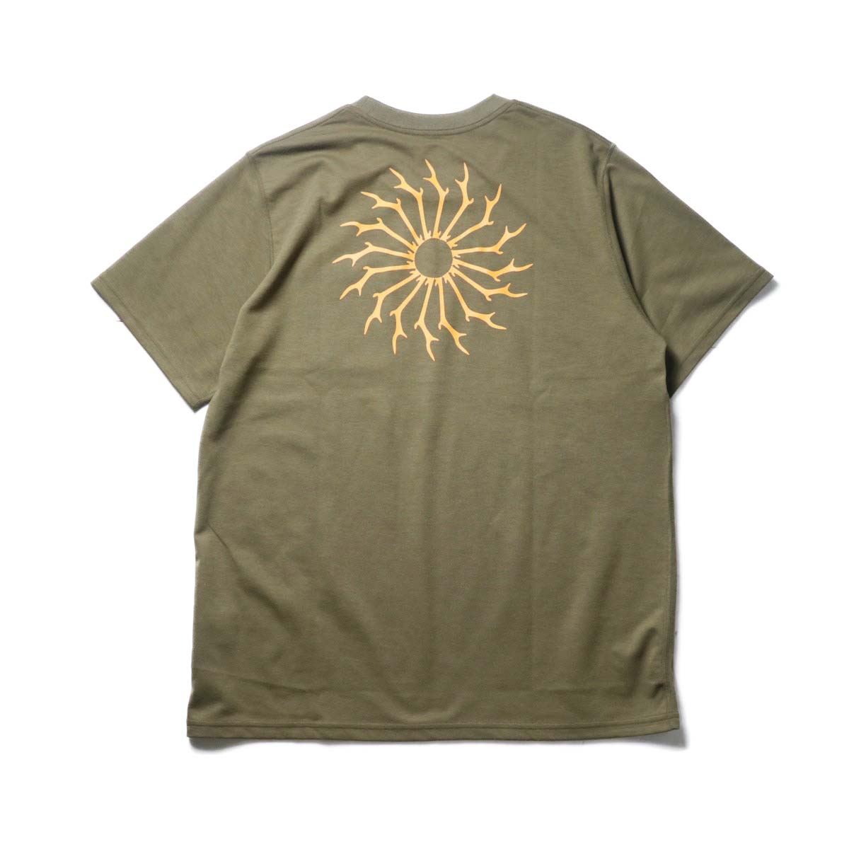South2 West8 / S/S ROUND POCKET TEE - CIRCLE HORN (Olive)背面