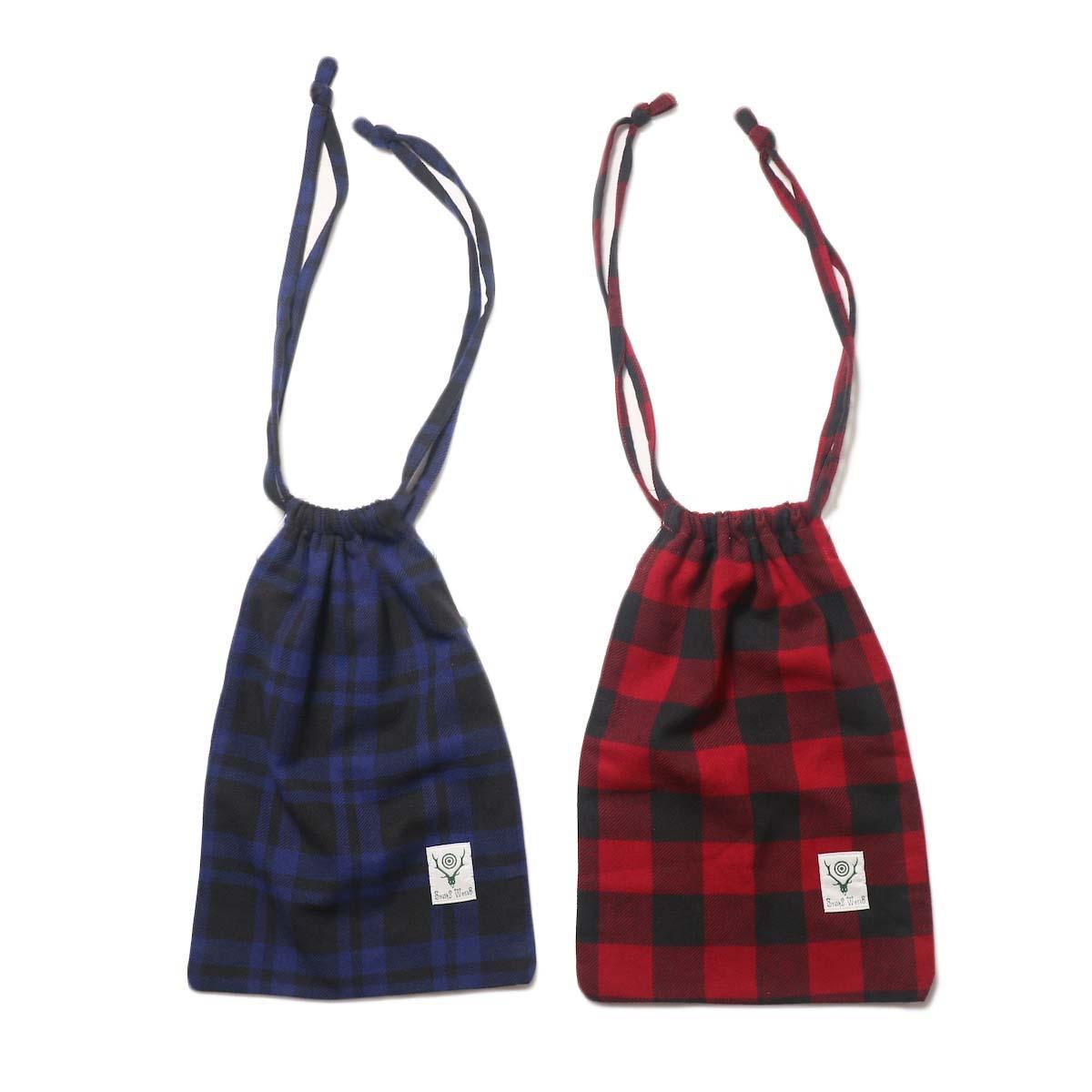 South2 West8 / String Bag - Plaid Twill 左:BLUE/BLACK 右:RED/BLACK