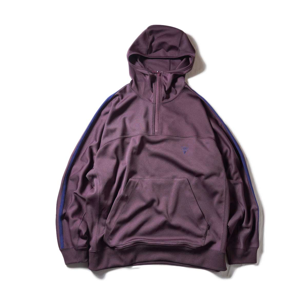 South2 West8 / Trainer Hoody - Poly Smooth (Burgundy)zip締めたver