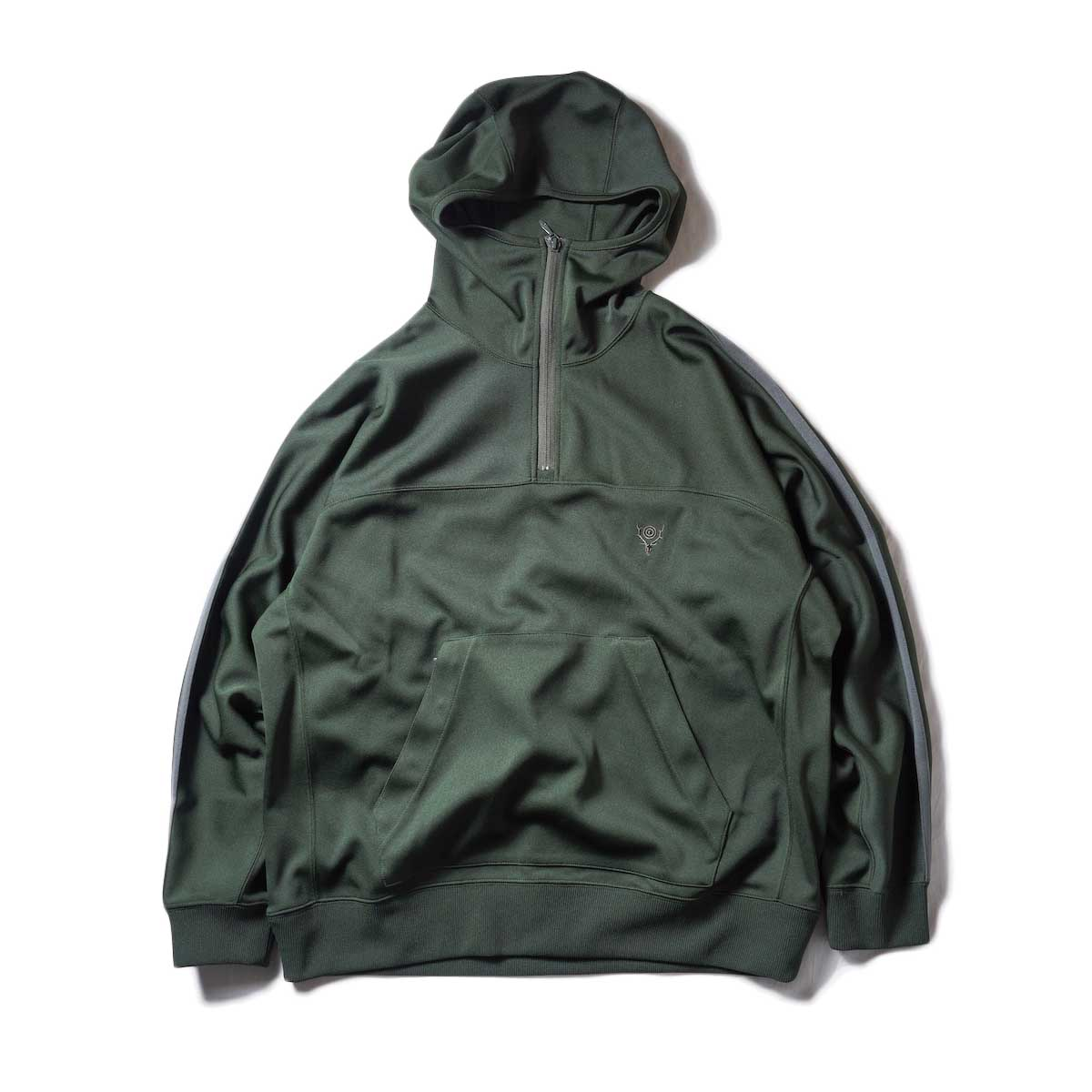 South2 West8 / Trainer Hoody - Poly Smooth (Green)zip締めたver