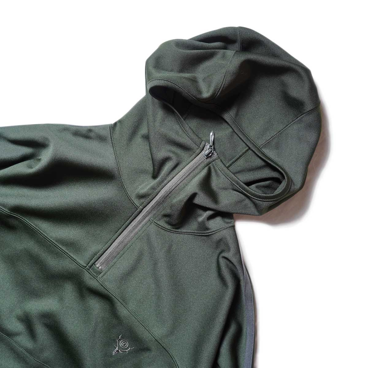 South2 West8 / Trainer Hoody - Poly Smooth (Green)zip締めたver2