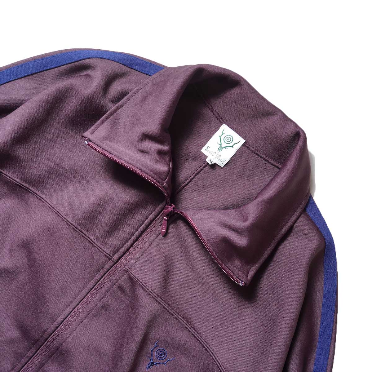 South2 West8 / Trainer jacket - Poly Smooth (Burgundy)襟