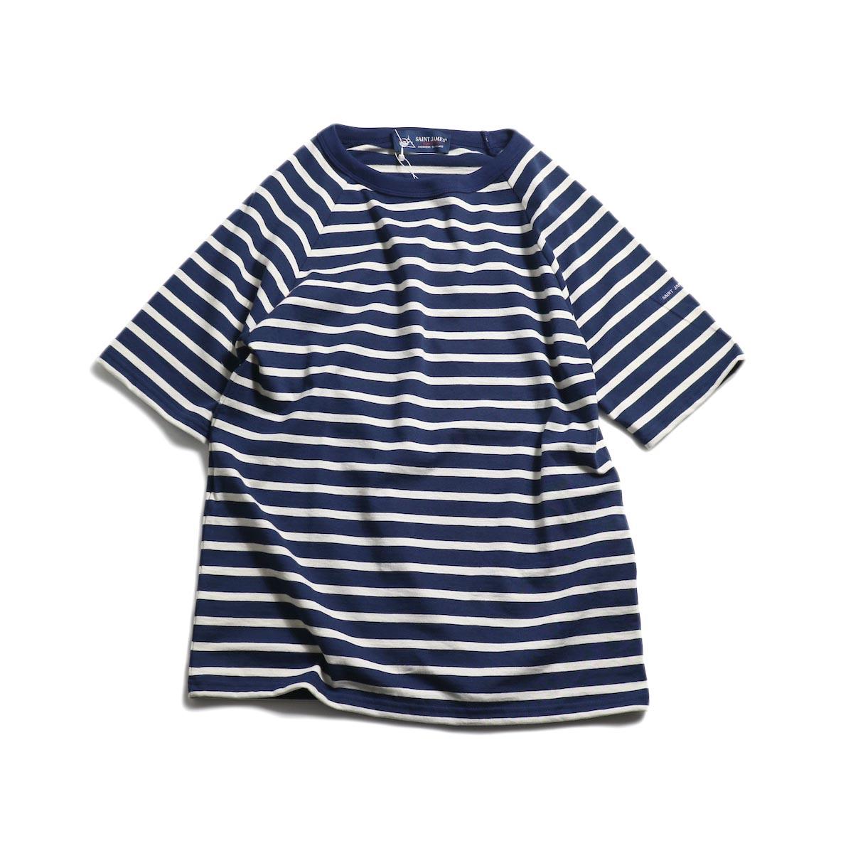 SAINT JAMES / クルーネックラグラン -Marine/Ecru