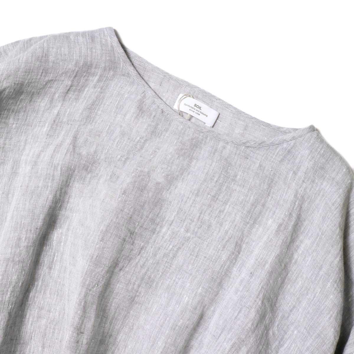 SOIL / GATHERED SMOCK (Grey) ボートネック