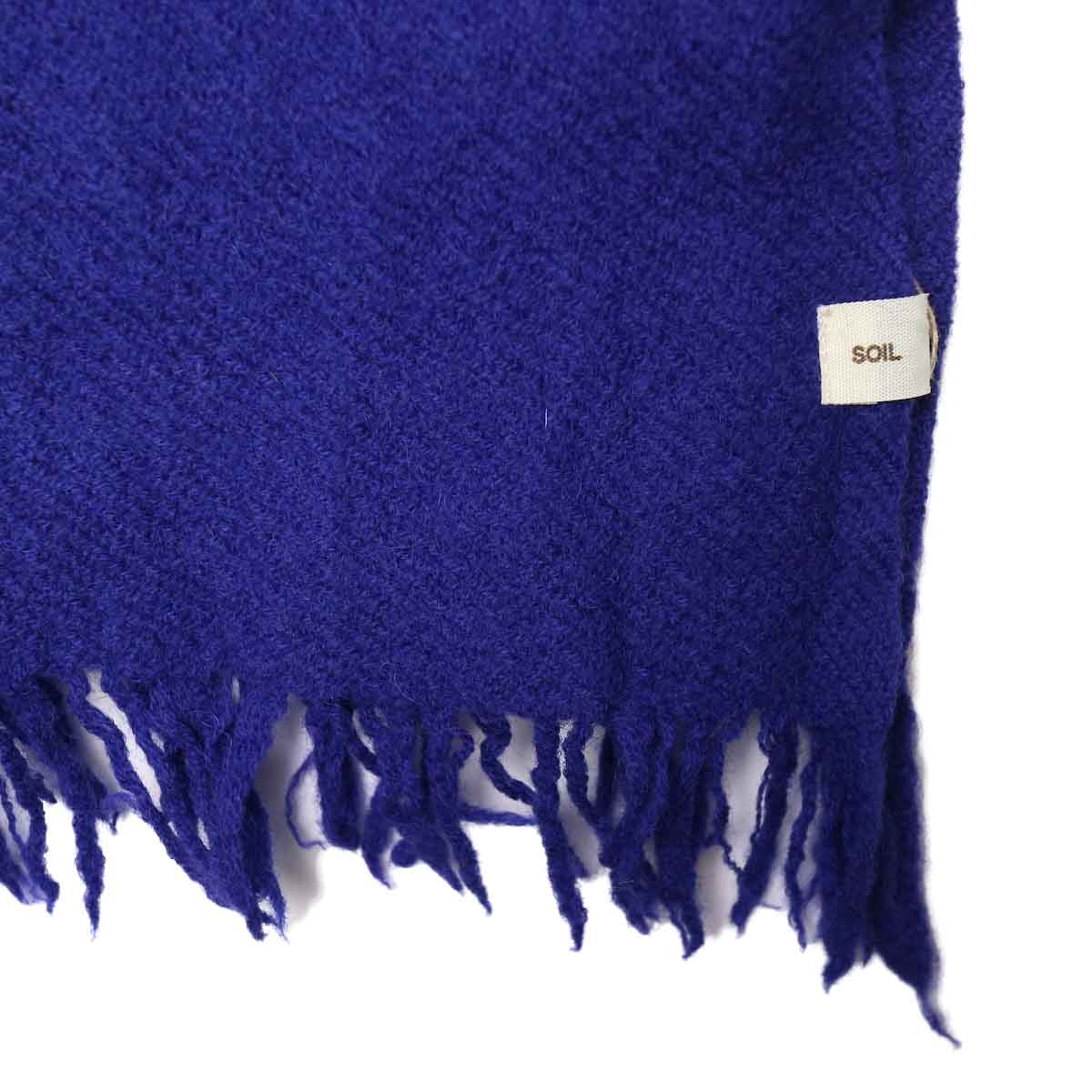 SOIL / MELANGE BOILED WOOL PLAIN STOLE (Purple) フリンジ・生地感