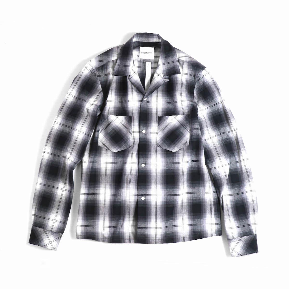 TAKAHIROMIYASHITATheSoloist. / sws.0012bSS18 work shirt. (ombre check) -black × black