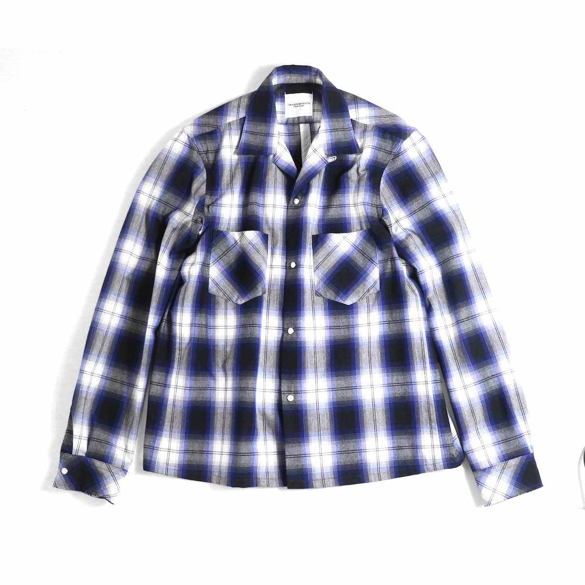 TAKAHIROMIYASHITATheSoloist. / sws.0012bSS18 work shirt. (ombre check) -black × blue