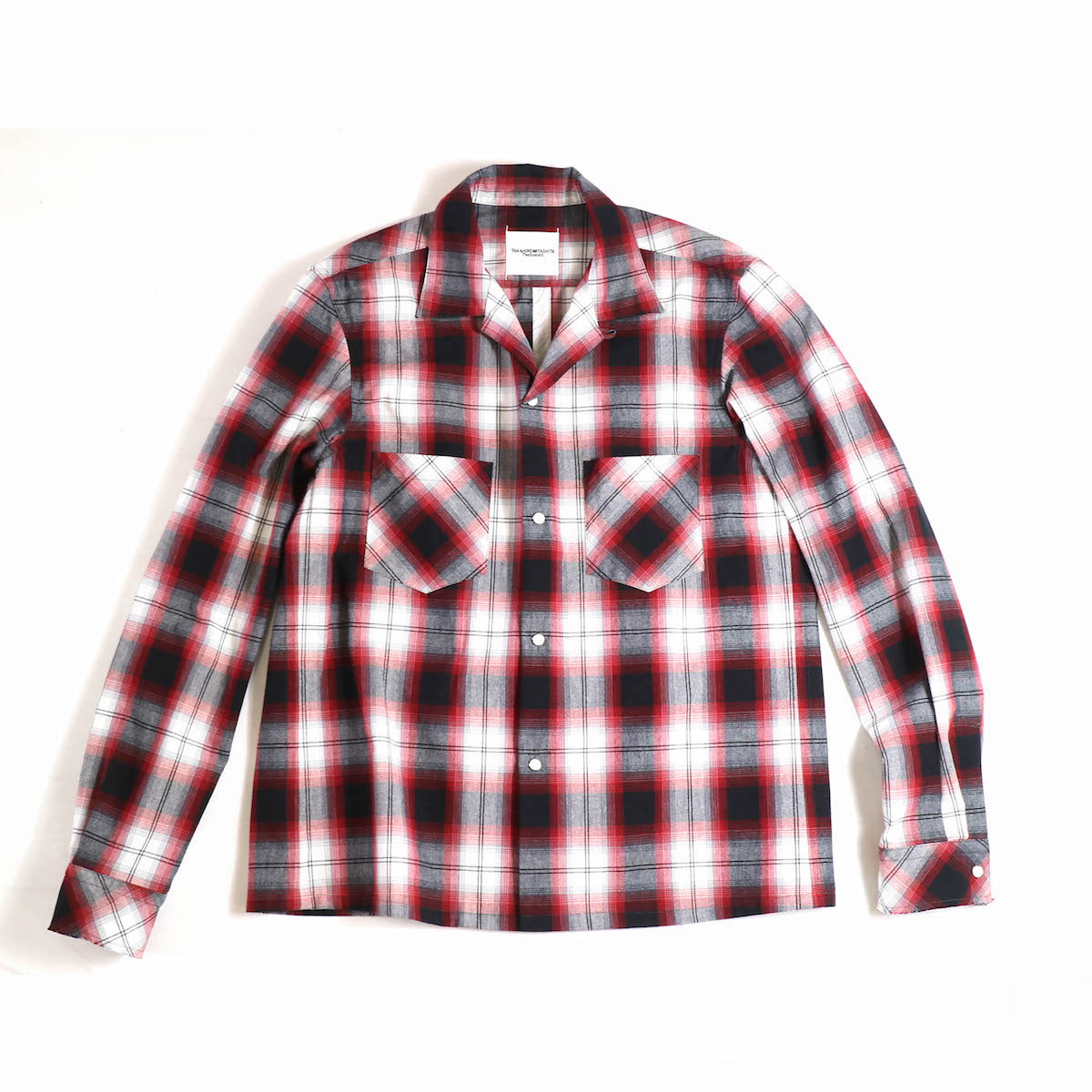 TAKAHIROMIYASHITATheSoloist. / sws.0012bSS18 work shirt. (ombre check) -black × red
