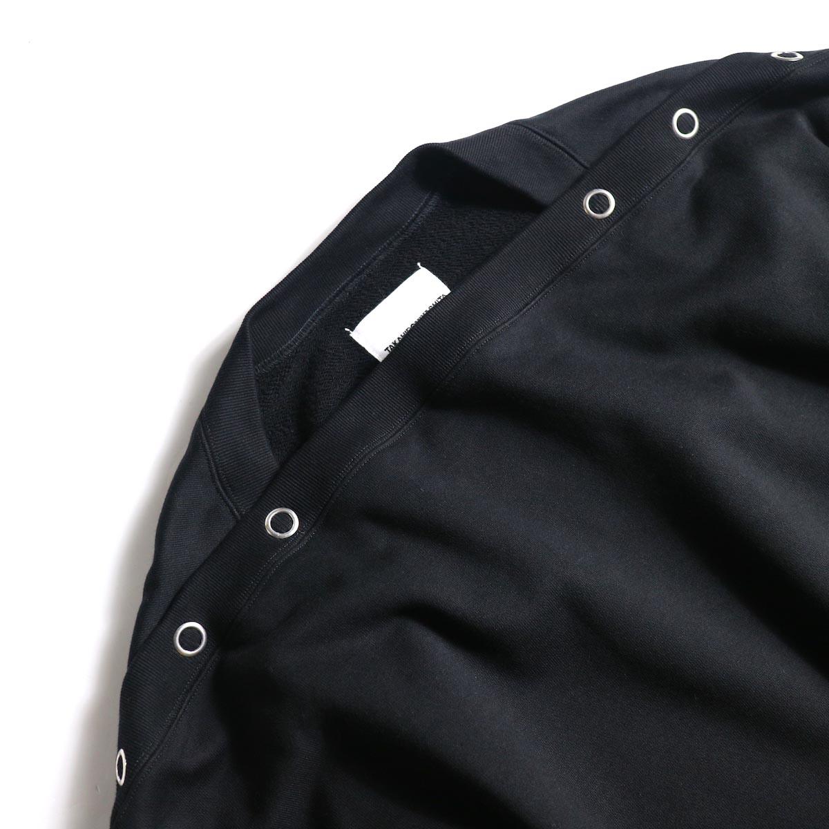 The Soloist / sc.0001bAW20 shoulder buttoned boat neck sweatshirt. (Black)ボートネック
