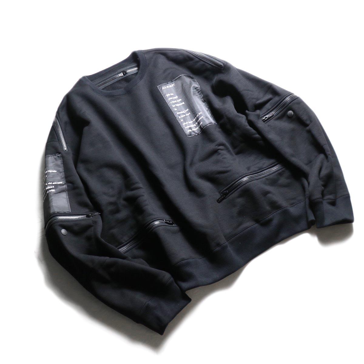 The Soloist / sc.0002aAW19 back zip crew neck l/s sweatshirt.  -Black 全体像