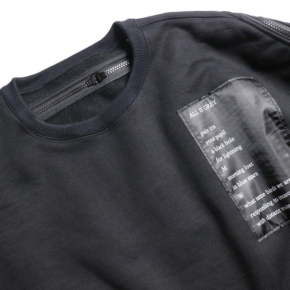The Soloist / sc.0002aAW19 back zip crew neck l/s sweatshirt.  -Black 襟