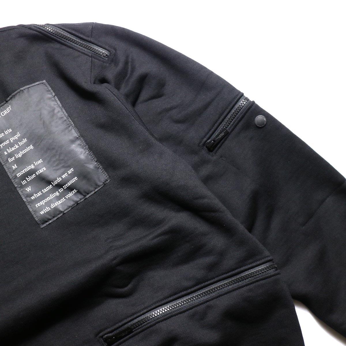 The Soloist / sc.0002aAW19 back zip crew neck l/s sweatshirt.  -Black 左袖