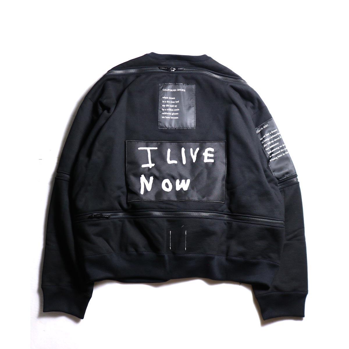 The Soloist / sc.0002aAW19 back zip crew neck l/s sweatshirt.  -Black 背面