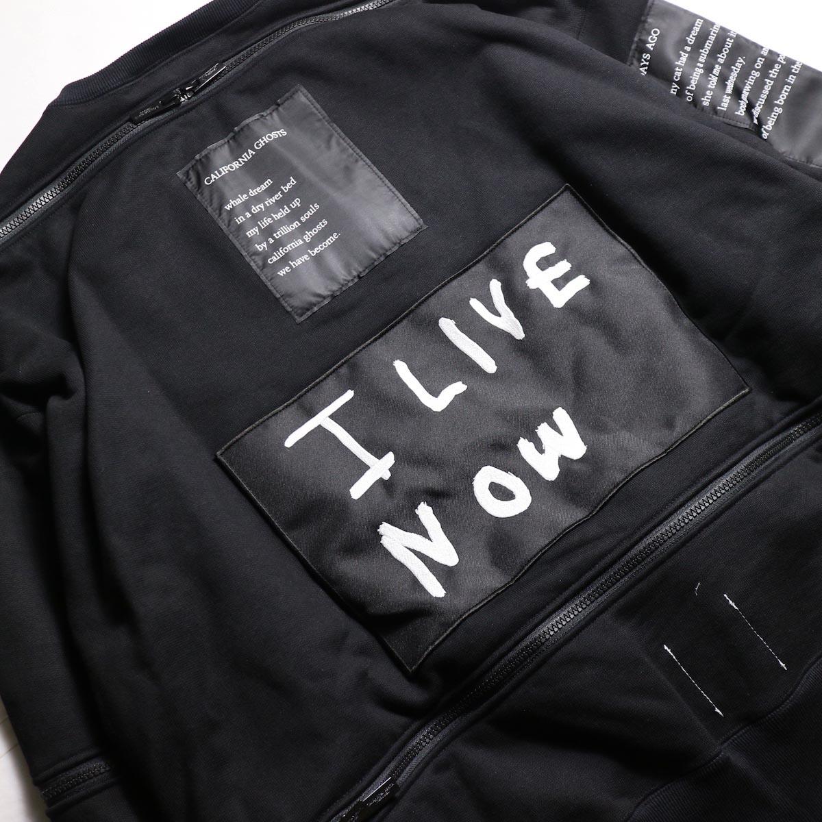 The Soloist / sc.0002aAW19 back zip crew neck l/s sweatshirt.  -Black パッチワーク、ジップ